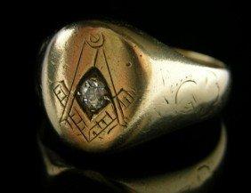 Man's 14K Yellow Gold Masonic Ring, Early 20th C.,