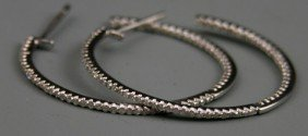 """Pair Of 14K White Gold """"In-and-Out"""" Hoop Earrings,"""