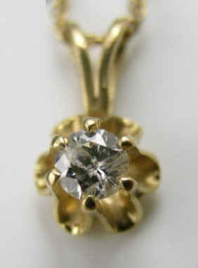14K Yellow Gold Pendant,  With A Central 10 Point