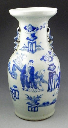 Large Chinese Baluster Porcelain Urn, 20th C., With