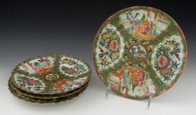 Group Of Four Chinese Rose Medallion Plates, 19th C