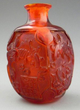 Carved Amber Snuff Bottle, 19th C., The Sides With