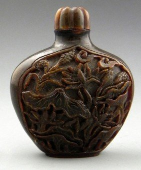 Carved Ox Horn Snuff Bottle, 20th C., With Relief