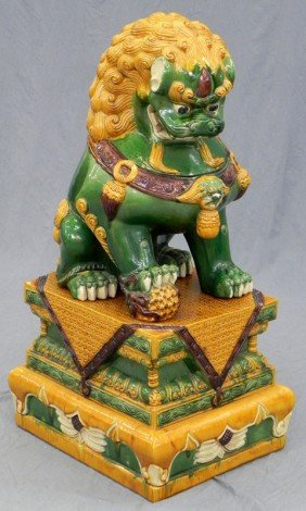 Large Chinese Glazed Earthenware Foo Dog On Confor