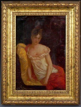 "Sal Gerard, ""Madame Recamier,"" 19th C., Oil On"