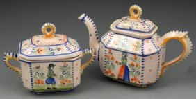 Quimper French Provincial Teapot And Covered Sugar