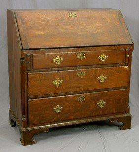 Georgian Style Carved Oak Slant Front Desk, C. 185