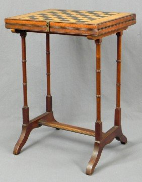 Diminutive Inlaid Carved Walnut Games Table, C. 19