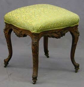 Louis XV Style Carved Mahogany Upholstered Stool,