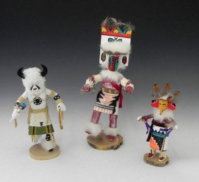 "Three Kachina Dolls, 20th C., Consisting Of ""Kashar"