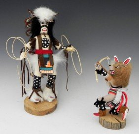 "Two Kachina Dolls, 20th C, Consisting Of ""Hoop Danc"