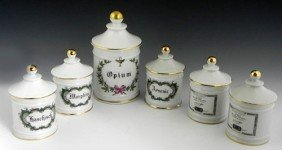 Set Of Six Limoges Porcelain Apothecary Jars, 20th