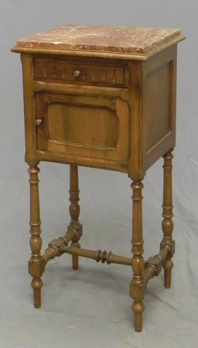 Henri II Style Carved Cherry Marble Top Night Stand