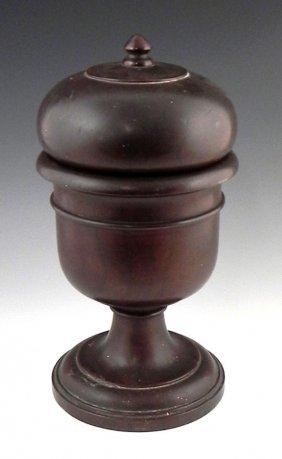 Carved Mahogany Acorn Form Cigar Humidor, C. 1890,