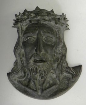 Bronze High Relief Bust Of Jesus, Early 20th C., H.