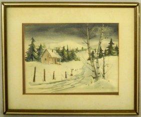 """Johnson, """"Snowy Winter Landscape,"""" Early 20th C., W"""