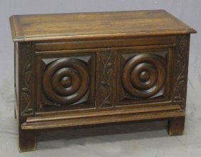 Louis XIII Style Carved Oak Bedding Box, Early 20th