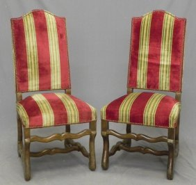 Pair Of Louis XIII Style Carved Birch Upholstered S