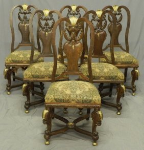 Set Of Six Carved Mahogany Upholstered Side Chairs,