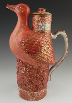 Large Japanese Bird Form Glazed Teapot, Early 20th