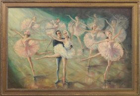 """Galley, """"The Ballet,"""" 20th C., Oil On Canvas, Sign"""