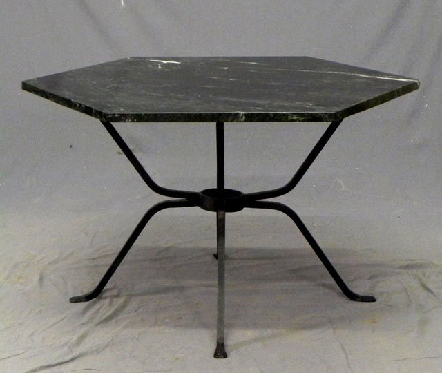 hexagonal marble top patio table 20th c the verde an