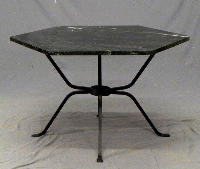 Hexagonal Marble Top Patio Table 20th c the verde an