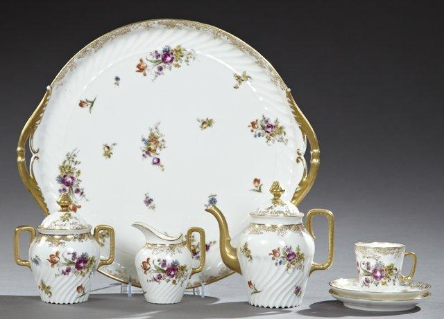 french porcelain seven piece petit dejeuner set late