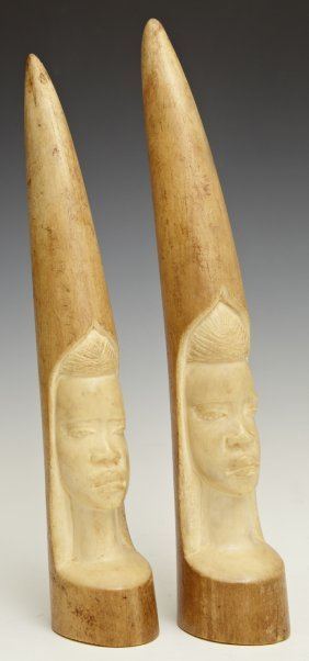 Pair of African Figural Carved Ivory Elephant Tusks, : Lot ...