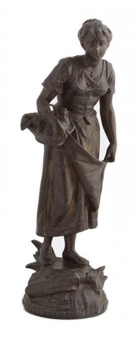 Patinated Spelter Figure Of A Female Farmer, 19th C.,