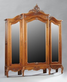 French Louis Xv Style Carved Walnut Triple Door
