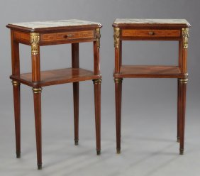 Pair Of French Louis Xvi Style Ormolu Mounted Inlaid