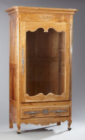 French Louis Xv Style Carved Cherry Armoire, Mid 19th