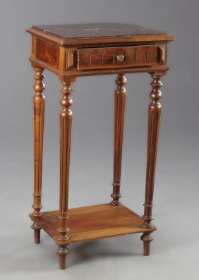 French Louis Xvi Style Marble Top Nightstand, Early