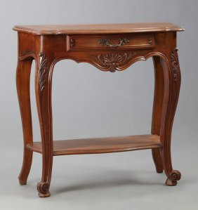 French Louis Xv Style Carved Cherry Console, 20th C.,