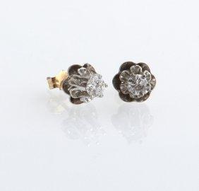 Pair Of 14k White Gold Diamond Stud Earrings, Total
