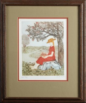"""Aida Whedon (new Orleans), """"eve,"""" 20th C., Etching In"""