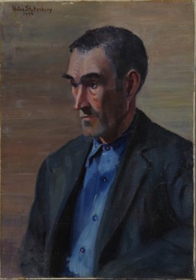 """Helen Mather Stotesbury, """"portrait Of A Man In A Blue"""
