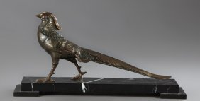 French Art Deco Patinated Spelter Figure Of A Pheasant,