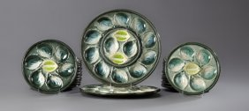 Twenty-three Piece Majolica Oyster Set, Early 20th C.,