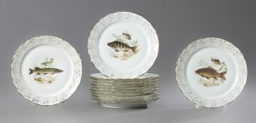 Set Of Twelve French Porcelain Fish Plates, 20th C., By