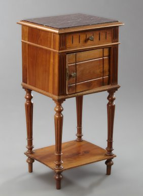 French Carved Mahogany Marble Top Nightstand, Early