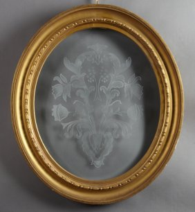 French Oval Beveled Etched Glass Panel, 20th C., In A