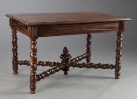 French Louis Xiii Style Carved Walnut Dining Table,