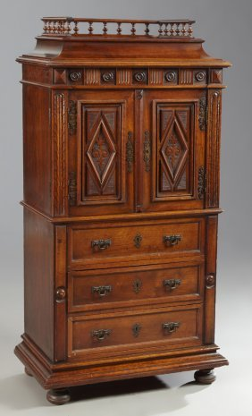 French Henri Ii Style Carved Walnut Cabinet, Early 20th
