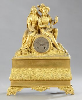 French Gilt Bronze Figural Mantel Clock, C. 1850, The