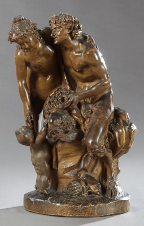 "After Clodion (1738-1814), ""seated Pan With Nymph And"