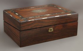 English Mother-of-pearl And Bone Inlaid Rosewood Lap