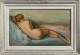 "Andre Advier, ""reclining Nude From The Rear,"" 20th C.,"