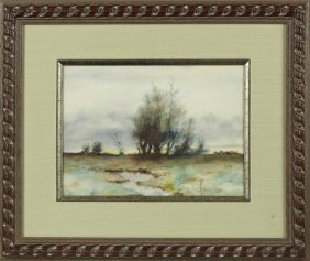 "American School, ""trees In A Flat Landscape,"" Late 19th"